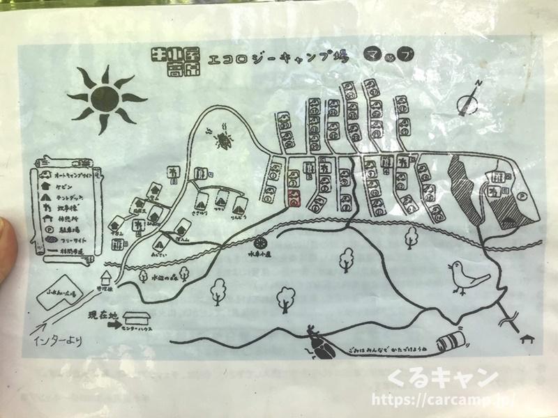 恐羅漢エコロジーキャンプ場案内マップ