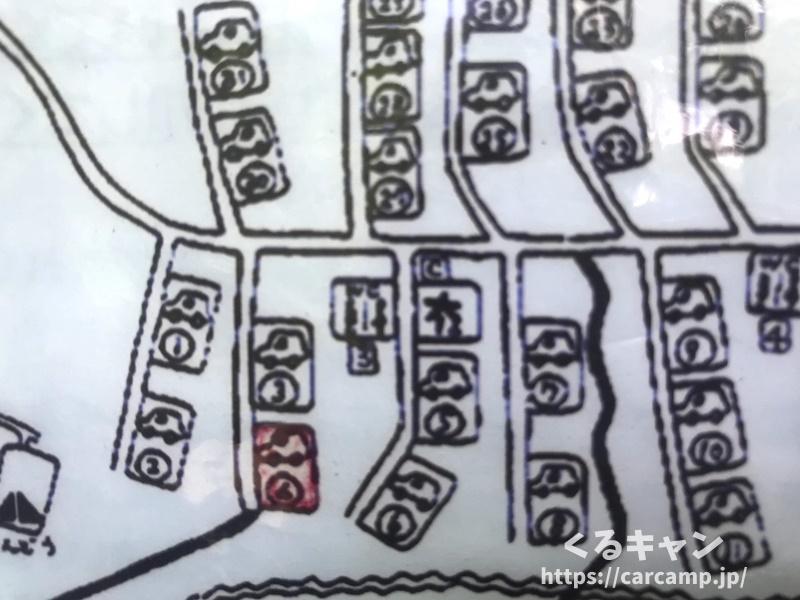 恐羅漢エコロジーキャンプ場区画マップ